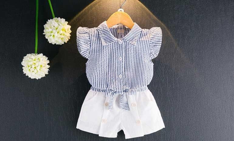Female baby summer dress 1 set for 2-3-4-5 years old little girl short sleeve 6 tide