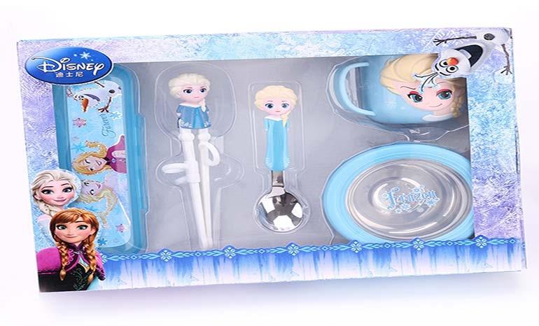 Disney children's cutlery set portable learning chopsticks spoon 5 piece set cartoon infant home baby