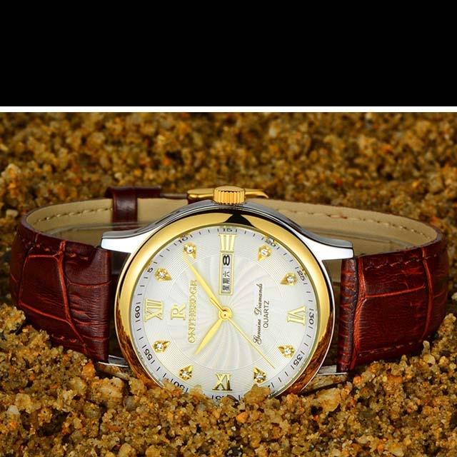 Genuine ultra-thin waterproof business leather belt quartz watch